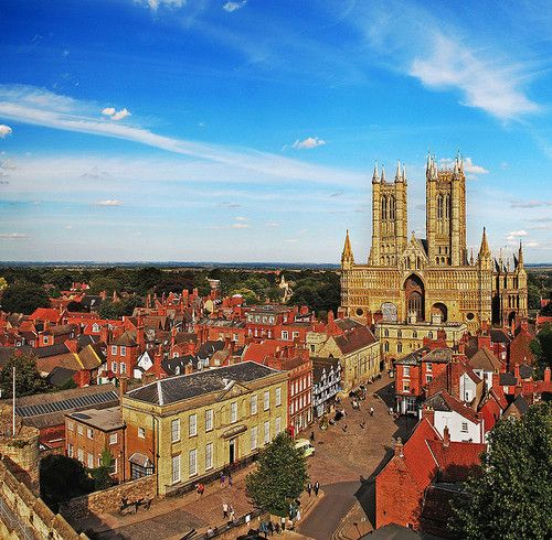 View of Lincoln Cathedral over Castle Square.