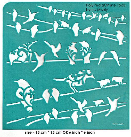 Pochoir pochoirs motif modèle « Oiseau sur le fil » 6 pouces/15 cm, réutilisable, adhésif, flexible, pour l'argile polymère, tissu, bois, verre, cartes