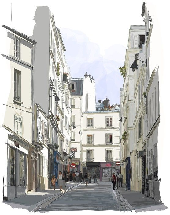 Street Near Montmartre In Paris Self Adhesive Wall Mural