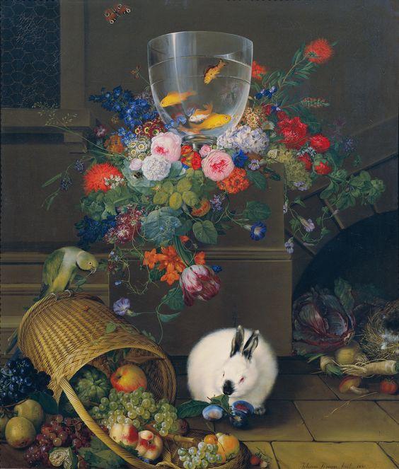 Johann Knapp (1778-1833) —  Still Life with Goldfish Bowl,  1810 : The Österreichische Galerie Belvedere,  the Belvedere palace, Vienna.  Austria   (2982x3528)