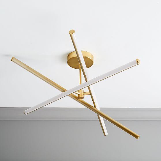 Light Rods Led Semi Flushmount Antique Brass Led Chandelier Modern Flush Mount Lighting Led