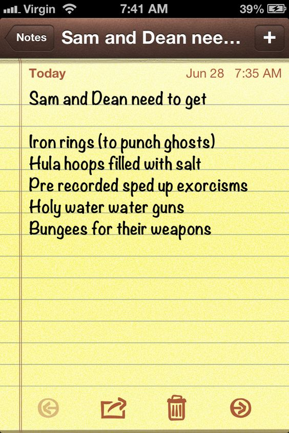 What the Winchesters need to put in their arsenal. Add on if you know some more :)