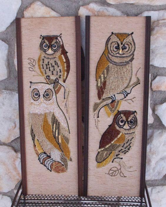 Vintage Mid Century Modern Owl Gravel Art Wall Hanging Lot