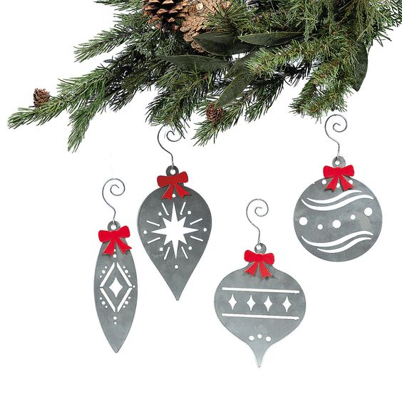 Laser-Cut Christmas Ornaments with Bows - OrientalTrading.com