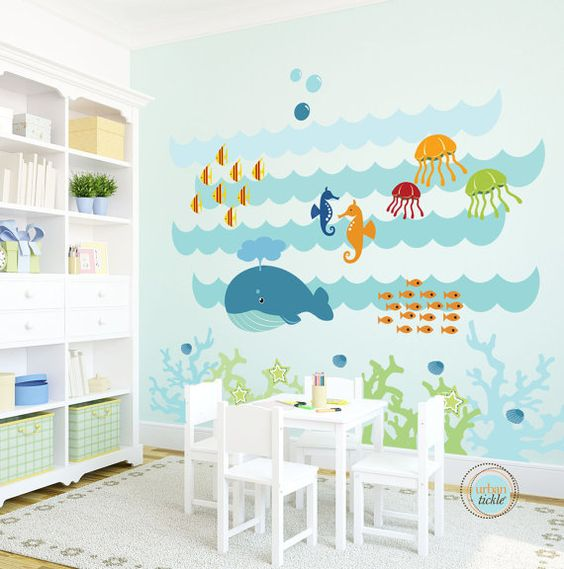 Kids Wall Decal, Under The Sea, Extra Large, Nursery Artwork, Wall Sticker for Baby Room, Play Room Decals, Whale, Fish, Nautical on Etsy, $225.00