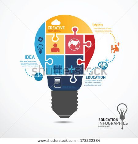 Infographic Ideas buy infographic template : infographic Template with Light bulbs jigsaw banner . concept ...