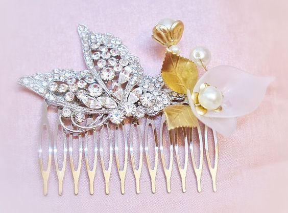 Bridal Hair Comb - Rhinestone butterfly and acrylic white flower comb.