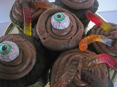 Worms in the dirt and Ogre eys Cupcakes: Red Couch Recipes