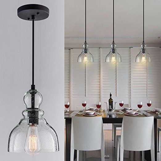 Industrial Mini Pendant Lighting With Handblown Clear Seeded Glass