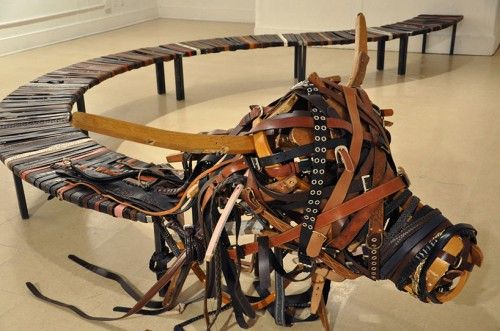 Bench Made from a Thousand Belts