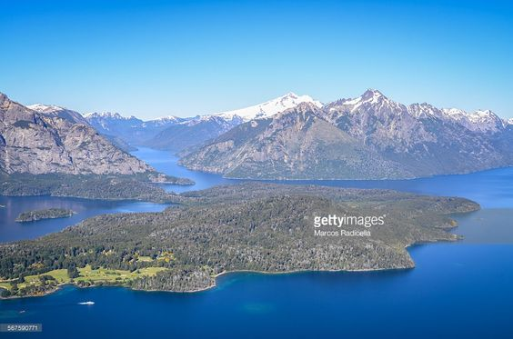 Aerial view of tourist destination, Bariloche Patagonia Argentina on a sunny day. Capture from biplane.