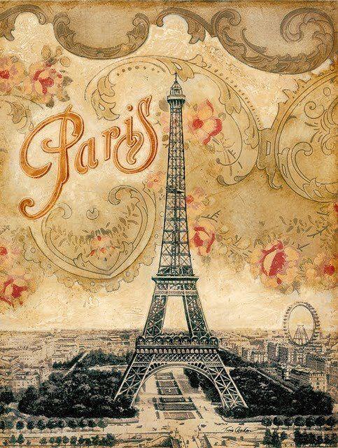 vintage french postcard eiffel tower pinterest buffet de f te tour eiffel et cartes. Black Bedroom Furniture Sets. Home Design Ideas