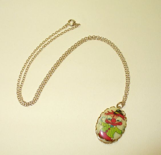 Vintage Glass Charm Clown Necklace DEADSTOCK by SHOPHULLABALOO, $8.99