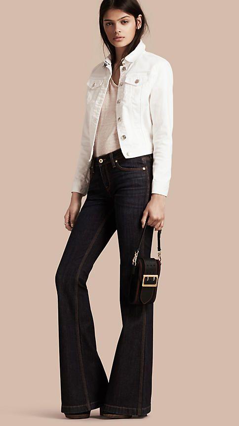 Mid indigo Flared Stretch Denim Jeans - Image 2
