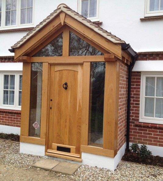 Bespoke green oak porch with direct glazing house for Small house front door ideas