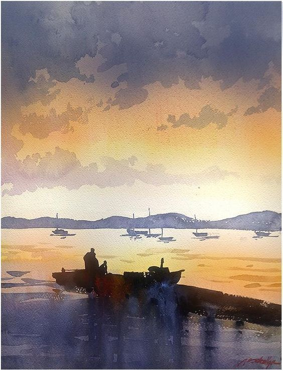 Thomas W Schaller Watercolor Landscape Watercolor Boat