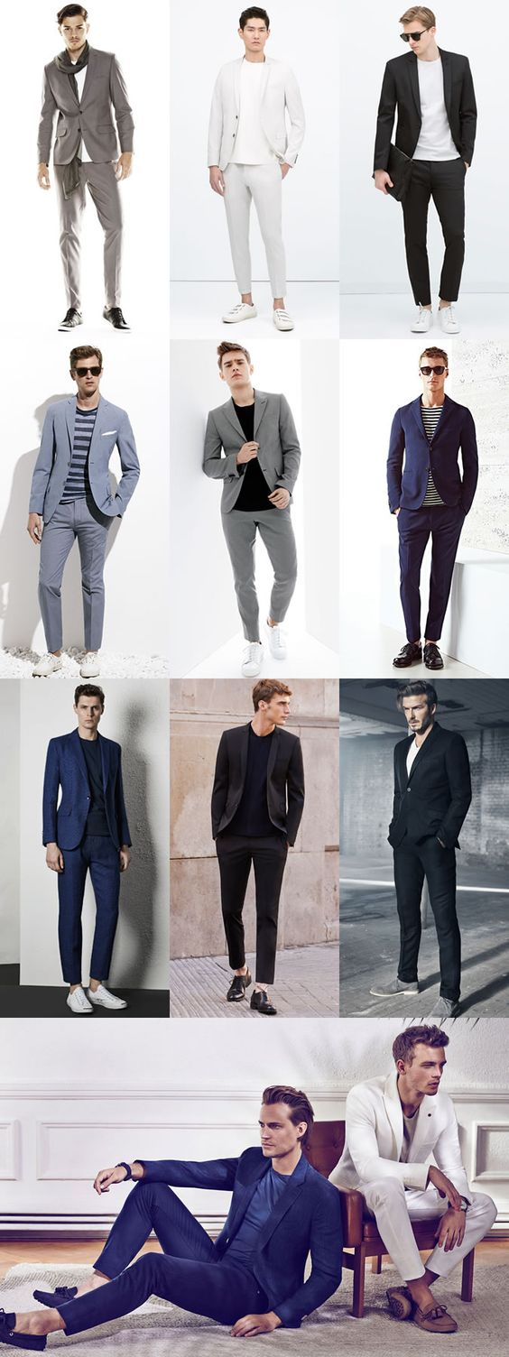 5 Great Combinations on Dressing Up-Dressing Down: 2. Suits & T-Shirts Lookbook Inspiration