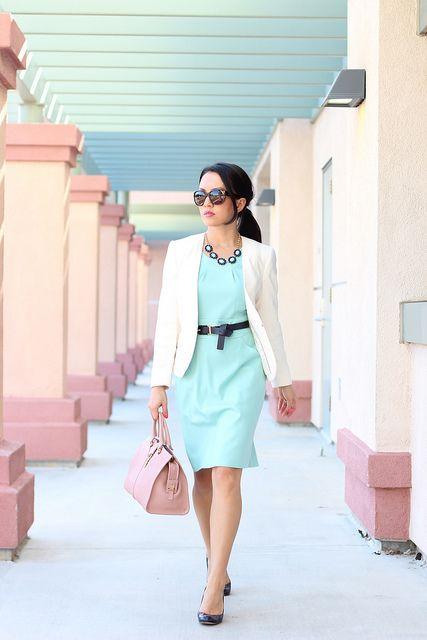 J.Crew Mint Emmaleigh Dress + White HM blazer + YSL blush + Chanel Sunnies + Banana Republic bloom necklace