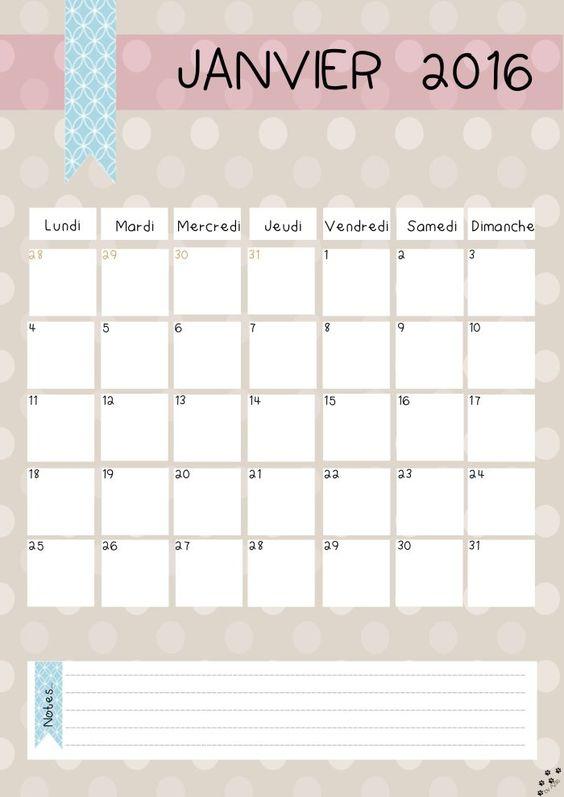 diy calendrier 2016 gratuit à imprimer azilis plus calendrier 2016 ...