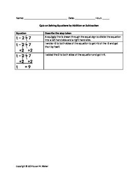 math worksheet : solving 1 step equations by adding  subtracting with example  : Solving Equations By Adding Or Subtracting Worksheets