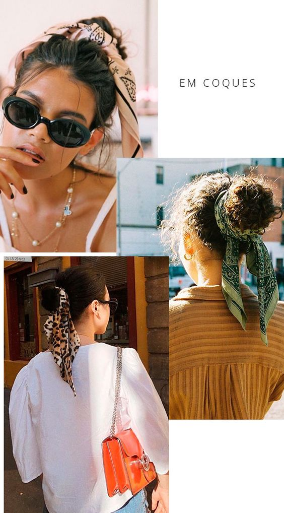 Aproveite para aproveitar os dias de messy hair e fazer um coque descolado com lenços e bandanas. it-girl - coque-penteado-cabelo-lenco - penteado-lenco - verão - street style