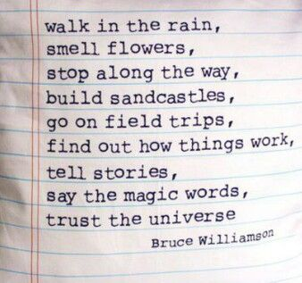 Walk in the rain , smell flowers , stop along the way , build sandcastles , go on field trips ,find out how things work ,tell stories , say the magic words , trust the universe. -bruce williamson