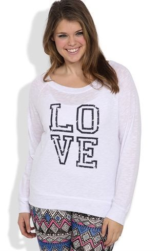 Deb Shops Plus Size Long Sleeve Oversized Tee with #Love Screen $15.00