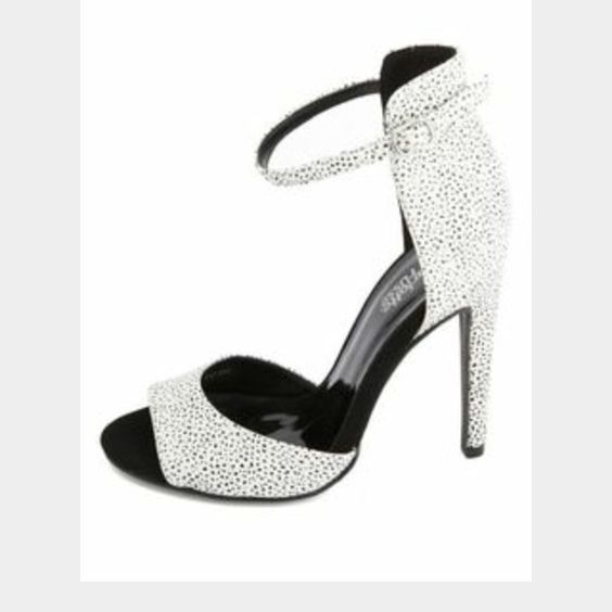 Brand new heels  Brand new never been worn  super cute!! They are white with tiny black dots/specks all over them..  Shoes Heels