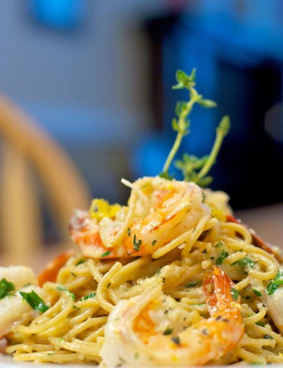 Prawn Pasta with Lemon Thyme Butter
