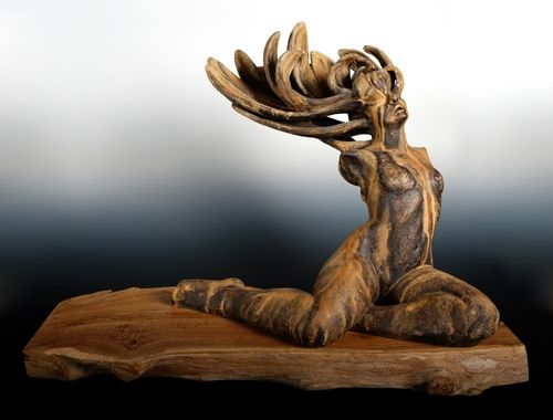 """Lost in Translation, original stoneware sculpture by Beverly Morrison, 21"""" tall x 18"""" x 30"""". Available for purchase at the Jed Malitz V2 Gallery (www.jedmalitzv2.com)"""