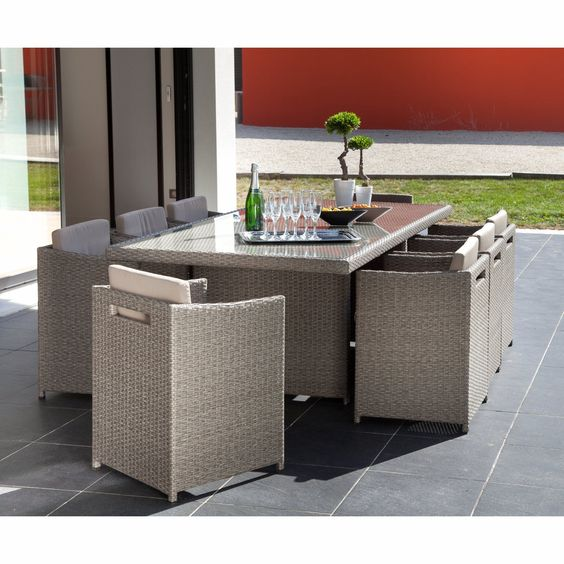 Salon de jardin en r sine tress e 9 l ments gris foggia for Alinea meuble de jardin