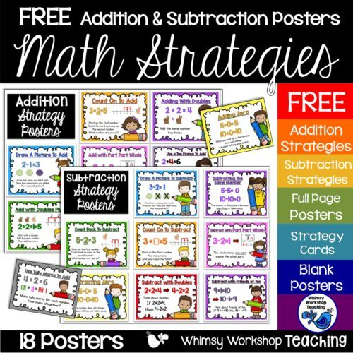 Are you looking for a way to break down each math strategy and have something to refer back to when students need a refresher? Grab this FREE set of addition and subtraction strategy posters. Click to read how I use them all year long on my math wall.