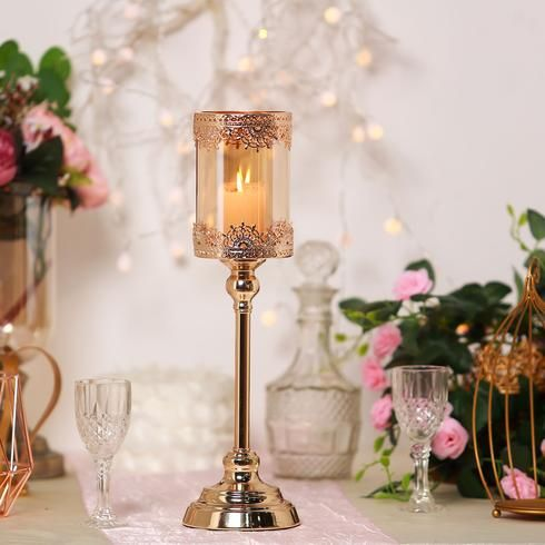 17 Tall Lace Design Gold Amber Hurricane Glass Candle Holder With Glass Tube Candle Holders Glass Hurricane Candle Holder Candles