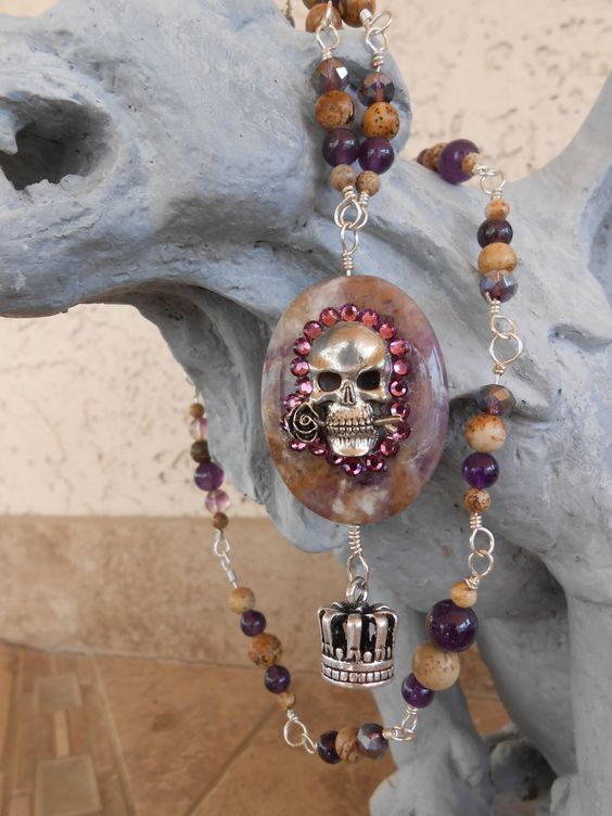Purple Rhinestone Skull Necklace - pinned by pin4etsy.com