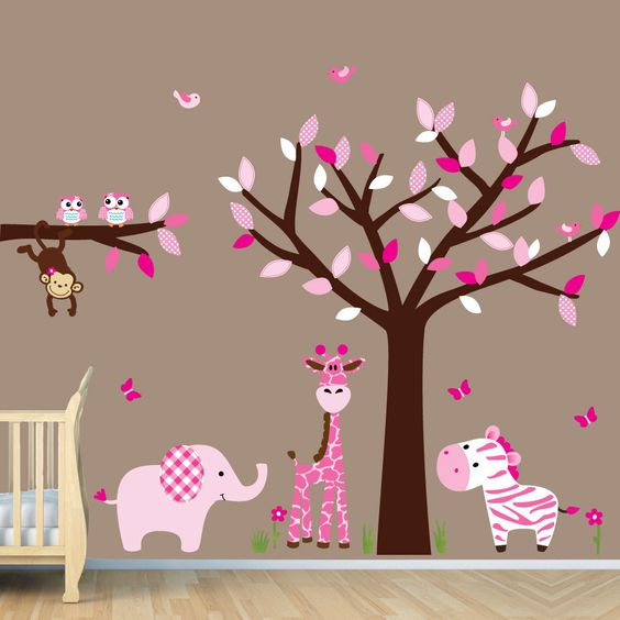 Jungles girl rooms and nurseries on pinterest for Baby girl wall decoration
