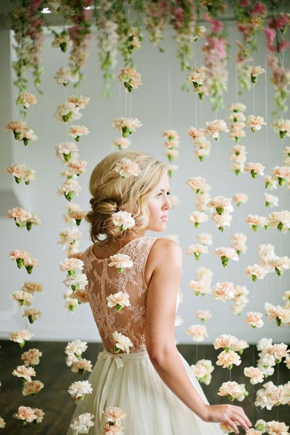 hanging flowers backdrop | Wedding Reception Backdrops via http://emmalinebride.com/decor/wedding-reception-backdrops/:
