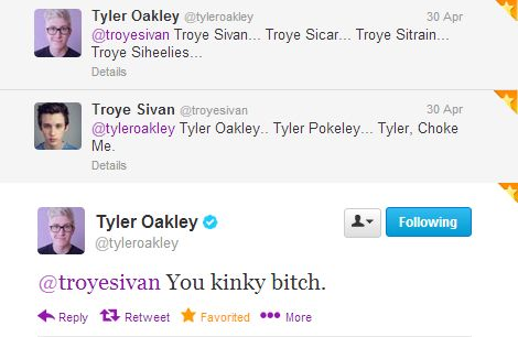Can we please just talk about this tweet between Tyler oakley and troye sivan haha