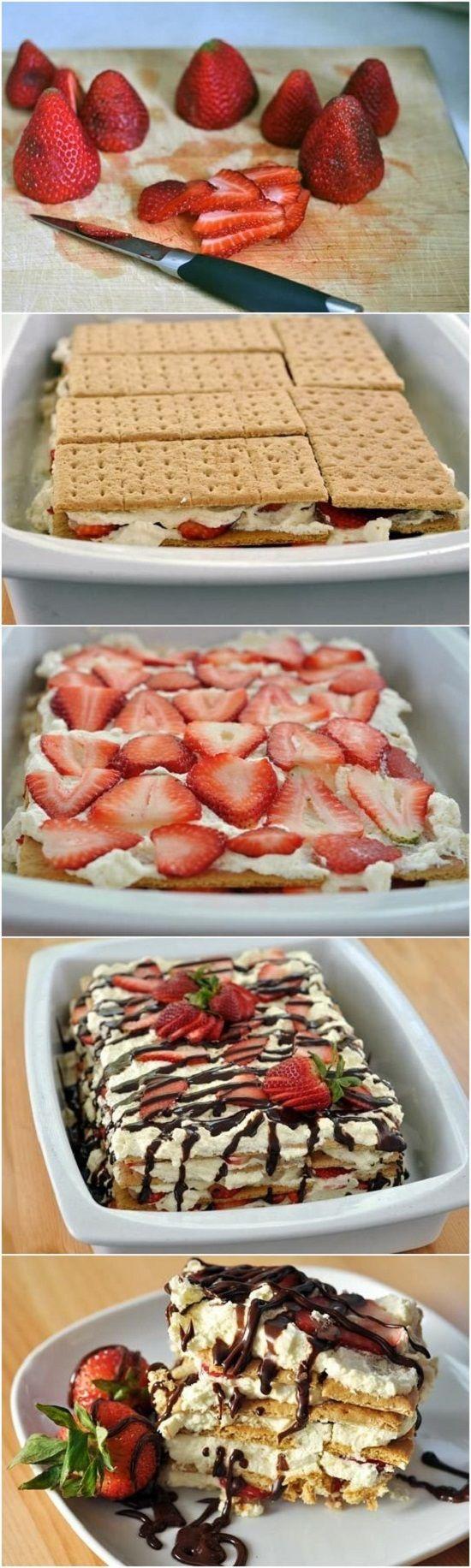 No Bake Easy Strawberry Icebox Cake