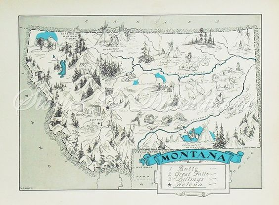 Montana Map A Fun and Funky Little Vintage 1930s Picture Map to Frame 21