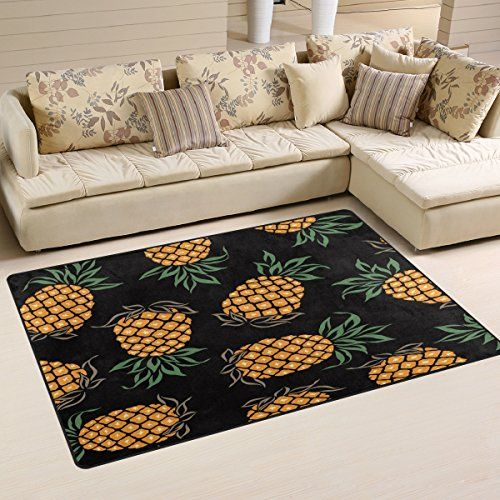 Wozo Watercolor Pineapple Fashion Rug Rugs Non Slip Floor Mat Doormats For Child Living Room In 2020 Pineapple Kitchen Decor Living Room Bedroom Living Dining Room