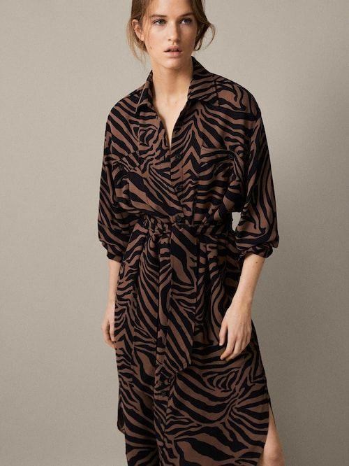 Kleid Mit Zebramuster Und Gurtel Damen Massimo Dutti Zebra Print Dress Print Dress Jumpsuit Dress