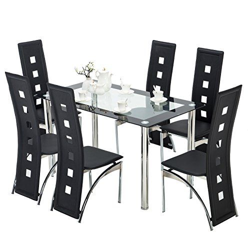 Mecor Gl Dining Table Set 7 Piece Kitchen With