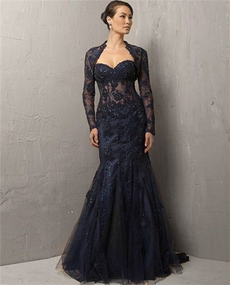 evening dress with lace jacket - ... Sweetheart Long Navy Blue ...