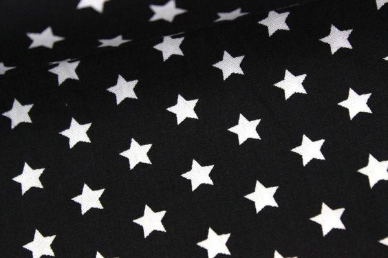 Baumwollstoff - Kleine Sterne - Schwarz auf alles-fuer-selbermacher.de
