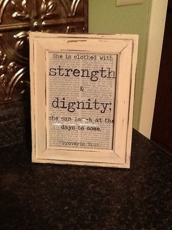 Book Page Quote or Verse in Distressed Ivory Frame- Sign proverbs 31:25