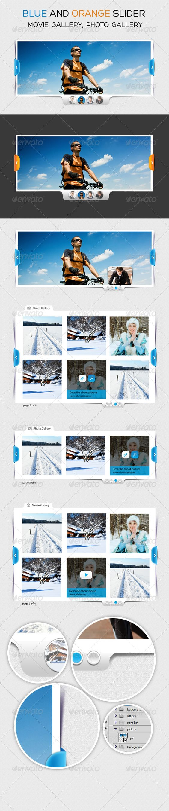 Blue Slider and Photo Gallery  #GraphicRiver         Please don't forget to rate my items  Thank you   	 if you like this work ,  click here  to see my portfolio  	    	    	 2 color  	 2 slider  	 3 photo gallery and movie gallery  	 Change image by smart object all layer shapes Group easy to resize RGB high resolution file 2480×7223 px Easy to use. ZIP file included : main blue slider.PSD  	 font used : Myriad Pro  	   	 if you like this work ,  click here  to see my portfolio     Created…