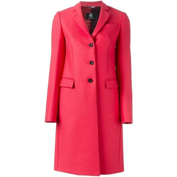 Paul Smith Coat With Buttons (65320 RSD) ❤ liked on Polyvore featuring outerwear, coats, fuxia, single-breasted trench coats, red coat, paul smith coat, button coat and paul smith