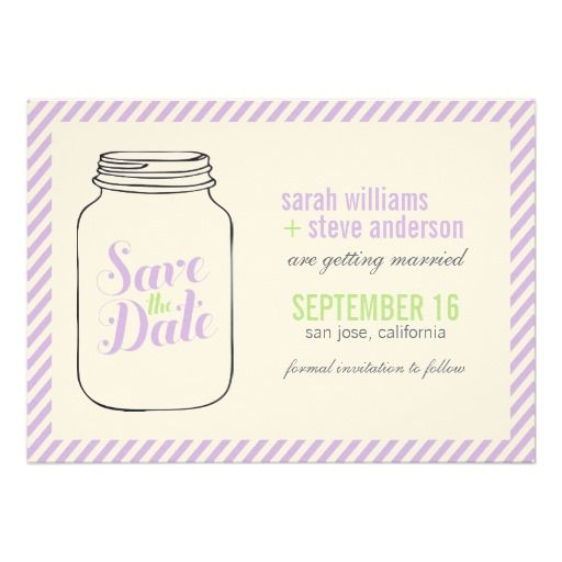 Vintage Mason Jar Wedding Save the Date Personalized Announcement