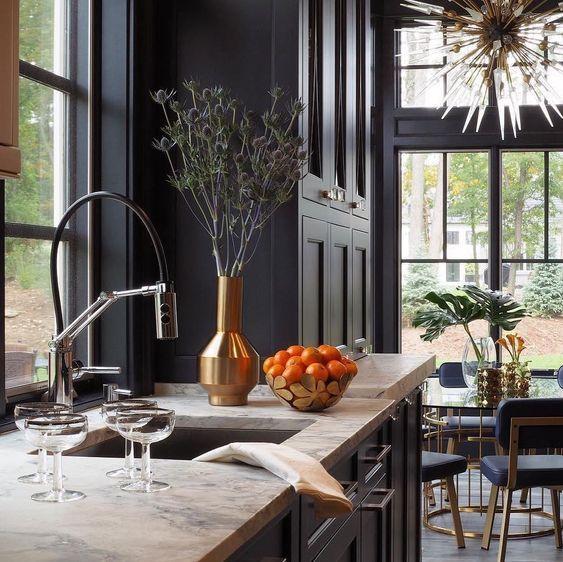Dark Moody Shower Plumbing Open Plan Kitchen Living Room Moody Kitchen