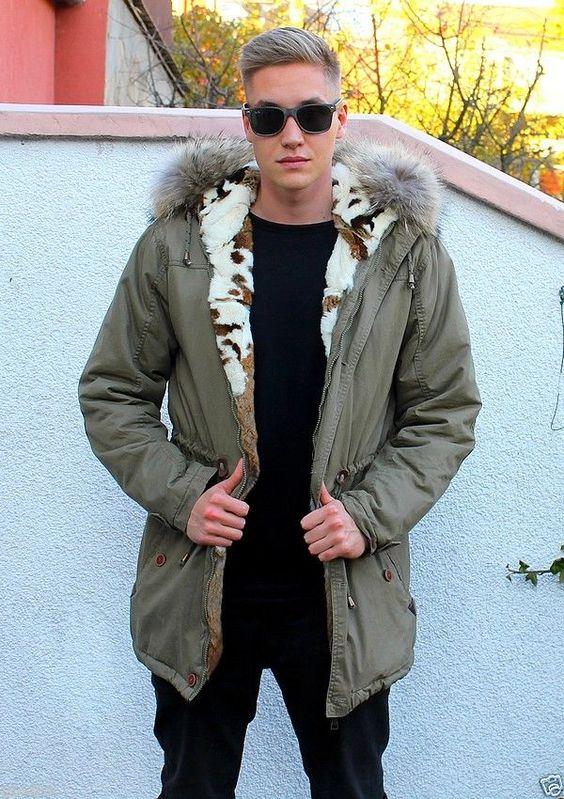 Parka Herren Pelzmantel men fur coat Куртка Мужчины dunkelgrün S-M SALE! in Kleidung & Accessoires, Herrenmode, Jacken & Mäntel | eBay